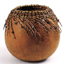 Coiled Gourd Basket with Beads